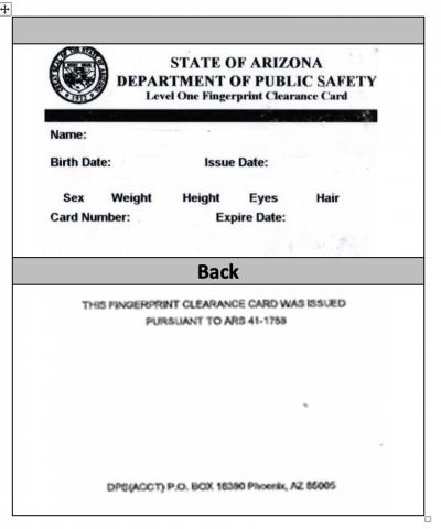 Fingerprint Clearance Card Example